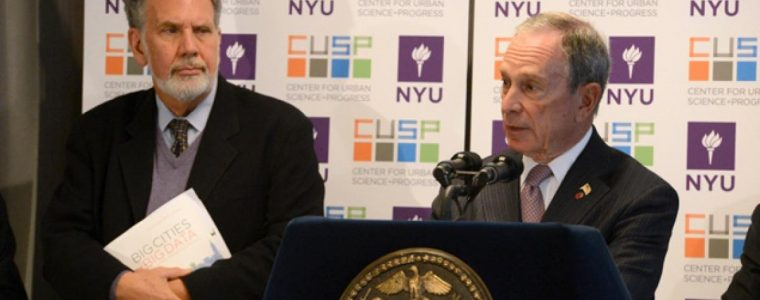 Mayor Bloomberg and NYU President John Sexton officially opened the university's Center for Urban Science and Progress Downtown Brooklyn Thursday