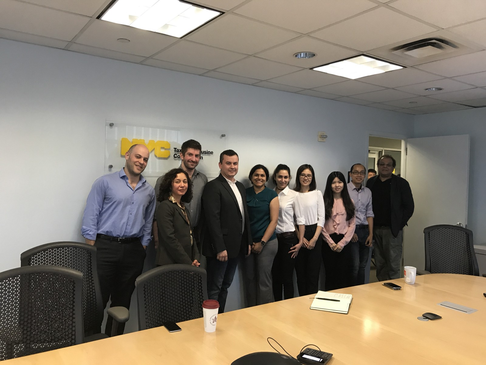 Unmet demand team. From left to right. TLC Staff: Ben Kurland, Chair Meera Joshi, Jeff Garber. Student team: Alexey Kalinin, Anita Ahmed, Pooneh Famili, Xin Tang, Ziman Zhou. Faculty advisors: Huy Vo, Kaan Ozbay.