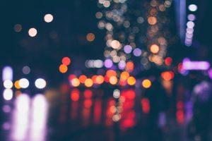 Shimmering lights at night