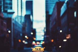 New York City Lights With Taxi