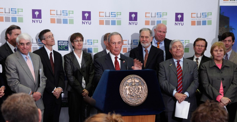 Mayor Bloomberg, NYU President John Sexton and MTA Chairman Joseph Lhota announce NYU CUSP
