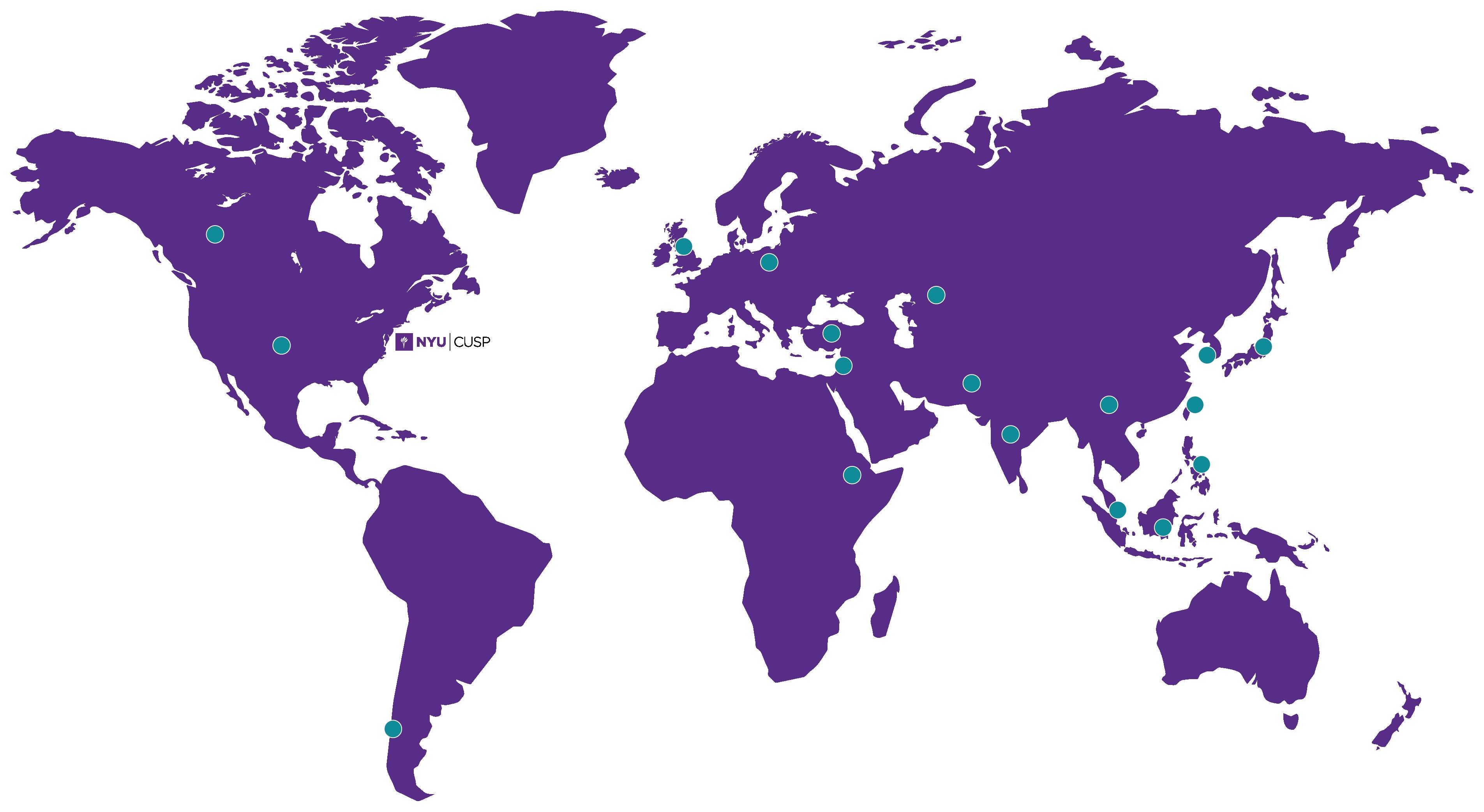 World map of NYU CUSP students
