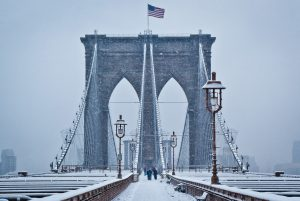 The Brooklyn Bridge in snow