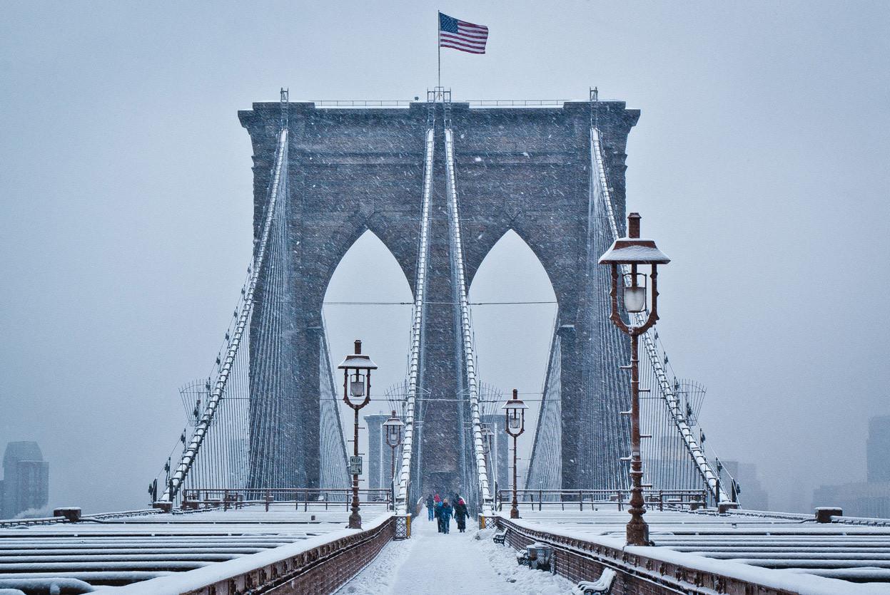 The Brooklyn Bridge in snow